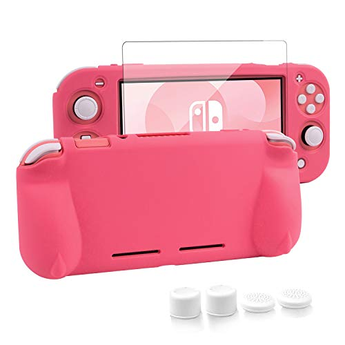 Silicone Protective Case for Nintendo Switch Lite, Soft Grip Case Cover with Comfort Ergonomic Handles for Nintendo Switch Lite 2019 [Self Stand][4 Thumb Stick Caps] (Silicone Grip-Pink)