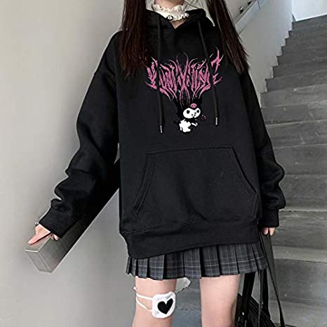 Sudadera con capucha de manga corta color: 1, talla: 3XL LXY Harajuku cuello redondo dise/ño de dibujos animados con estampado gracioso de Kuromi para ni/ña para oto/ño y calle
