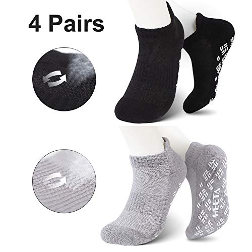 HEETA 4-Pair Yoga Socks for Women, Non-Slip Socks with Grip for Pilates, Ballet, Dance and Fitness, Black & Grey