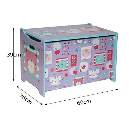 Style home Kindersitztruhe Spielzeugtruhe Aufbewahrungsbox Spielzeugkiste Holz, 60 x 36 x 40 cm (Lila) - 2