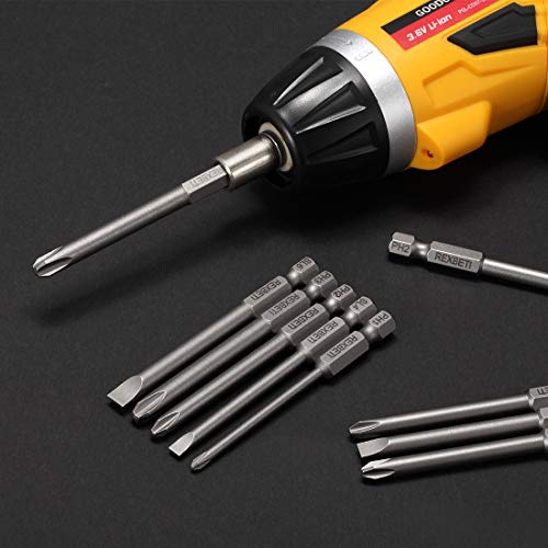REXBETI Slotted Phillips Screwdriver Bit Set, 1/4 Inch Hex Shank S2 Steel Magnetic 3 Inch Long Drill Bits, 12 Piece
