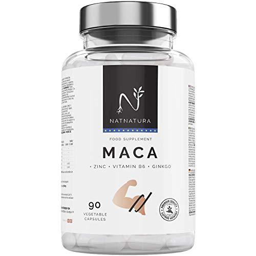 Maca andina. Alta concentración de extracto de maca andina pura con Gingko biloba, L arginina y Vitamina B6. 5000mg. Proporciona energía, vitalidad y resistencia. 90 cápsulas. Para hombre y mujer.