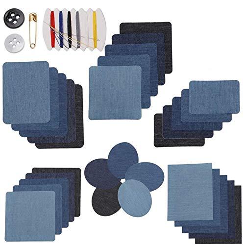 30 parches para planchar en 5 colores, para planchar con plancha, vaquero, juego de reparación, parches con plancha, con herramienta de costura para reparación y diseño vaquero (6 tamaños)