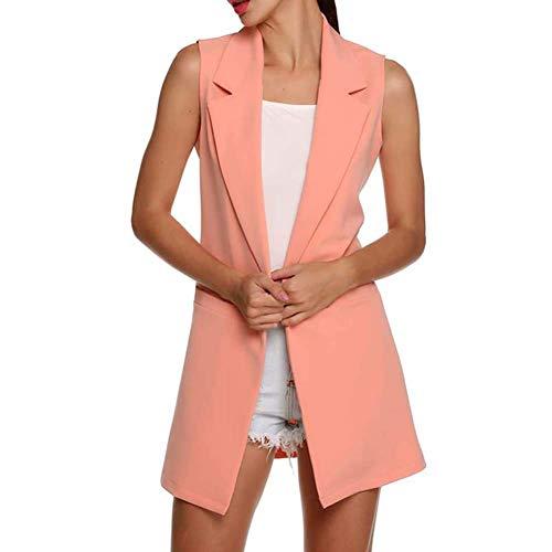Huaheng Vrouwen Jas Open Voor Mouwloos Lange Vest Blazer Werk Jas L roze