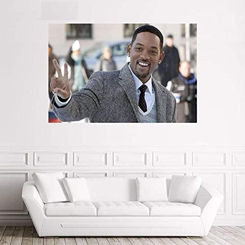 Will Smith Póster Personalizado Arte de la Pared Pintura en Lienzo Sala de Estar Estudio Decoración Colección de Ventiladores 50x70cm S-938