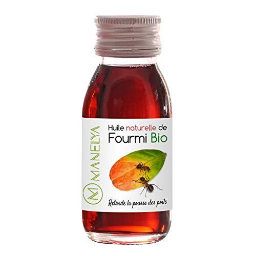 Huile de fourmi 60 ml - Manelya - Contre la pousse des poils, retardateur de repousse - Vegan - 100% Biologique et naturelle - Flacon en verre