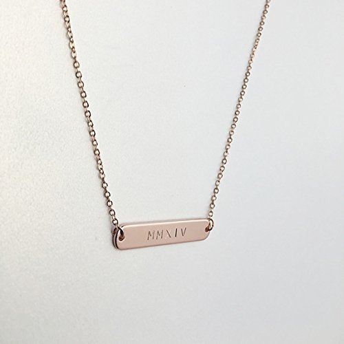 Same Day ship til 2:00 p.M,Christmas gift,Roman numerals necklace,Engraved Special Date Round Bar Necklace,Personalized Jewelry,Roman Numerals,Rose,Wedding/Bridesmaid gift,name bar necklace