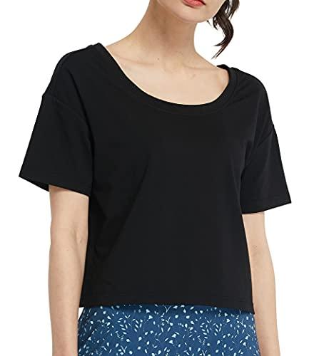 Westkun Camiseta de Manga Corta para Mujer Crop Top Deporte V y Cuello Redondo Crop Tops de Yoga Casual Correr Pull-Over Oversized tee(Negro,L)