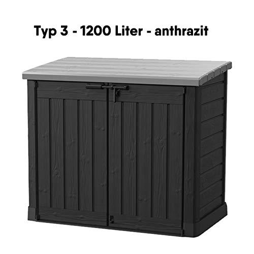 Koll Living Garden Mülltonnenboxen von 848- bis 2020 Liter wählbar - aus Wetter- & UV-festem Kunststoff - mit Gasdruckfedern und Belüftungsystem (Typ 3-1200 Liter - anthrazit)
