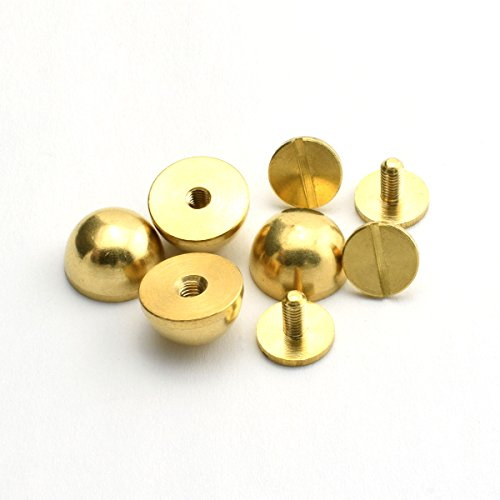 "LQ Industrial 4-Pack 1/2"" Purse Handbag Feet Nailhead Round Stud Solid Brass Screw-Back Spike Metal Studs Rivet Leather Craft DIY"