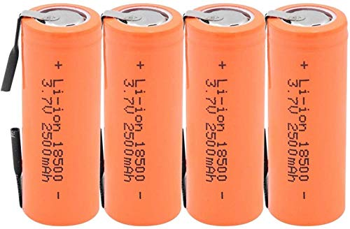 Batería Recargable Electrónica Batería De Iones De Litio 18500 3.7V 2500Mah Celda De Iones De Litio D con 2 Pestañas De Soldadura para Linterna Led-4 Piezas