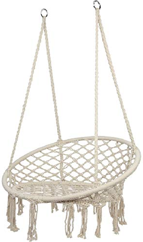 Homepeaz Hammock Chair Macrame Swing, Hanging Cotton Rope Swing Chair, Comfortable Sturdy Hanging Chairs for Indoor, Outdoor, Bedrooms, Home, Patio, Yard, Garden,Max Weight: 150KG