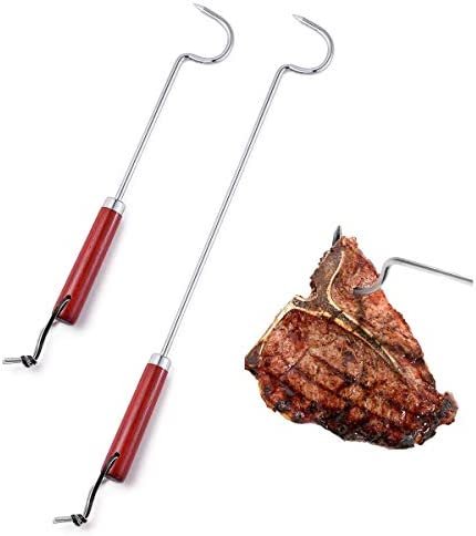 LQLMCOS 17 Long and 12 Short Food Flipper Turner Hooks Stainless Steel BBQ Meat Hooks Cooking product image
