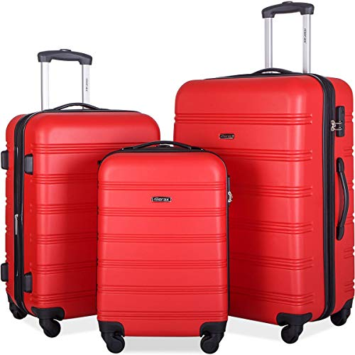 Merax Travelhouse Luggage Set 3 Piece Expandable Lightweight Spinner Suitcase (Red.)