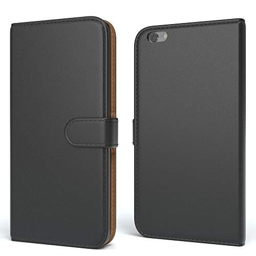 EAZY CASE Tasche für Apple iPhone 6 / 6S Schutzhülle mit Standfunktion Klapphülle im Bookstyle, Handytasche Handyhülle Flip Cover mit Magnetverschluss & Kartenfach, Kunstleder, Schwarz