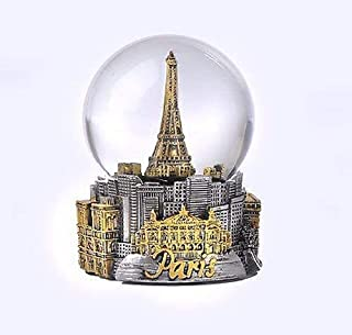 Paris France Eiffel Tower Snow Globe 80mm- With Gold Tone Eiffel and Gold Tone ICons