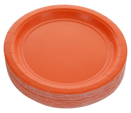 Amcrate Orange Disposable Party Paper Dessert Plates 7' - Ideal for Weddings, Party's, Birthdays, Dinners, Lunch's. (Pack of 50)