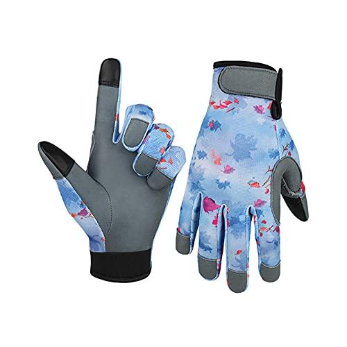 Faderr Leder-Gartenhandschuhe für Frauen – Arbeitshandschuhe zum Jäten, Graben, Pflanzen, Rechen und Beschneiden (blau, Größe: L)