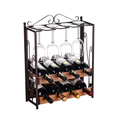 GAOTTINGSD Botellero Armarios para Vino Vino del Metal Estante De Madera De Apoyo De Rod Retro Bar Estante del Vino Regalo De La Decoración (Size : Two-Story Shelf)