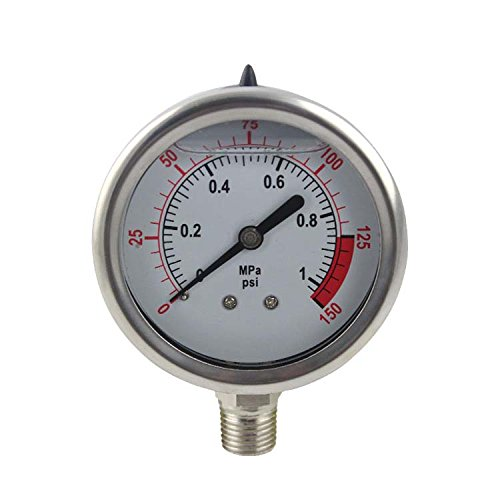 YZM Stainless Steel 304 Single Scale Liquid Filled Pressure Gauge with Brass Internals, 2-1/2' Dial Display, -1.5% Accuracy, 1/4' NPT Bottom Mount,Water Pressure Gauge. (0-150 psi)