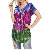Liably T-shirt d'été décontracté à manches courtes pour femme Imprimé Tie-Dye - Col rond -...