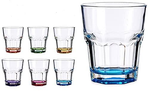 Set de 6 vasos de crstal con el fondo de colores , 28,5cl