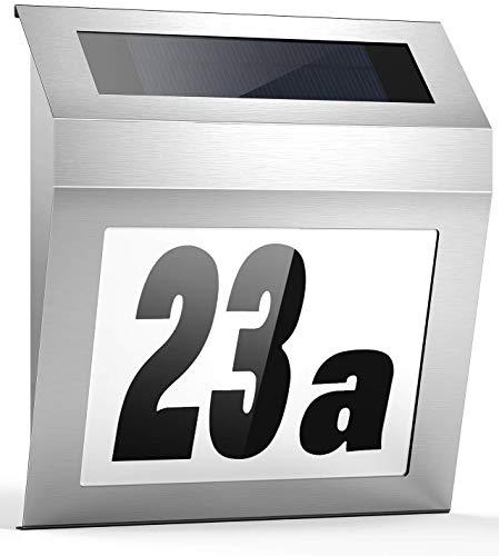 AGPTEK LED Solarhausnummer, Edelstahl Solar Beleuchtete Sonnenkollektor, Nickelbatterie, Umweltfreundliche Hausnummernleuchte, Wandleuchte mit Zahlenaufkleber 0-9 und Buchstabenaufkleber A-F