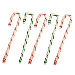 MPP 8″ Holiday Rawhide Candy Cane Beef Chews Dog Treats Gifts Red Green Bulk Packs
