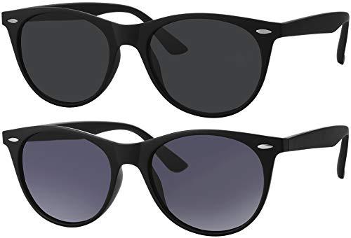 La Optica B.L.M. Occhiali da sole da uomo e donna, UV400, rotondi, ovali, retrò, colori singoli, confezione doppia Set di 2 bicchieri nero opaco, 1 grigio, 1 sfumato grigio. M