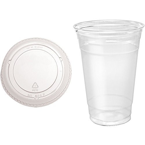 A World Of Deals 50 Sets 20 oz Plastic CLEAR Cups with Flat Lids for Iced Coffee Bubble Boba Tea Smoothie