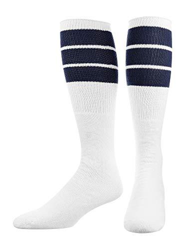 TCK Retro 3 Stripe Tube Socks (Navy, Large)