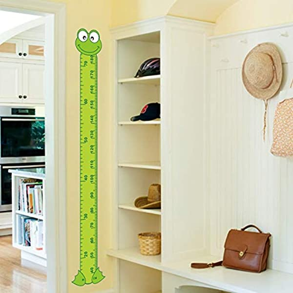 Atiehua Wall Stickers 2016 Newest Cute Interesting Cartoon Frog Green Baby Children Height Measure Wall Stickers Kids Room Decoration Child Play Room
