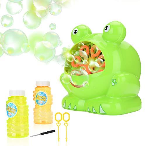 JBSON Máquina de Burbujas, Rana de Burbujas Automática 500 Burbujas por Minuto para niños, Fiesta de cumpleaños, Bodas, Juegos en Interiores y al Aire Libre con 2 Botellas vacías