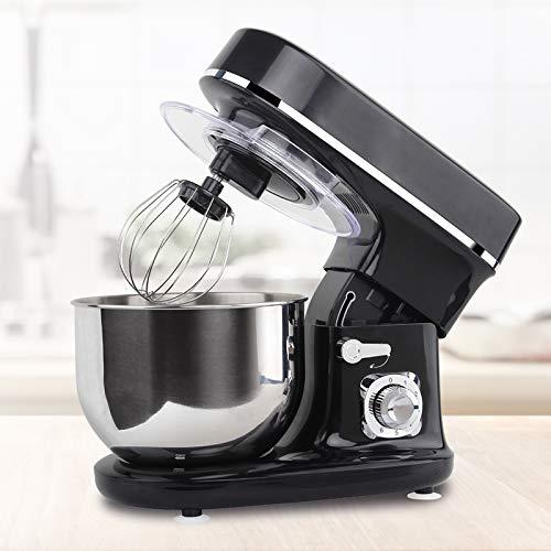 Molino Stand Mixer 1300 Watt Schwarz - Küchen- und Knetmaschine mit Doppelten Knethaken, Rührbesen, Knethaken, Schlagbesen, Spritzschutz, 6 Geschwindigkeit mit Edelstahlschüssel Teigmaschin
