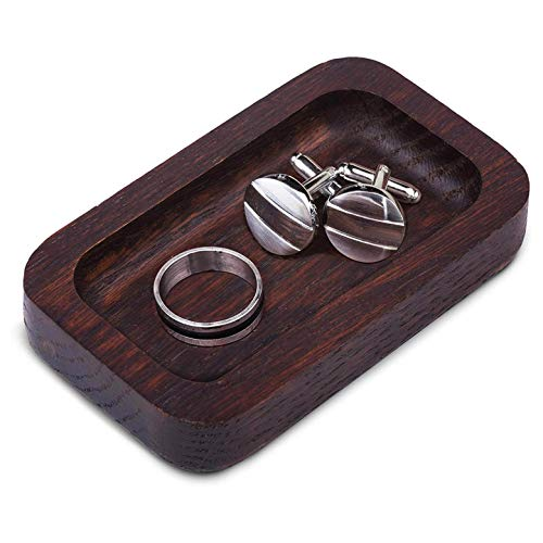 Prazoli Wooden Ring Holder For Men - Mens Ring Dish   Trinket Dish Wood Jewelry Holder Key Tray for Him   Unique Cool Valentines Day , Anniversary , Fathers Day , Birthday Accessories Ideas (Wood Jewelry Trinket)