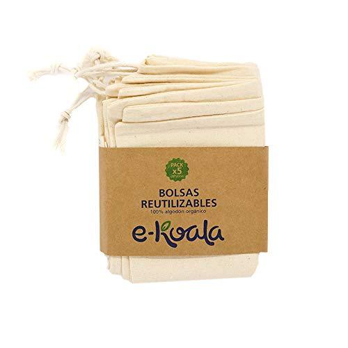 e-koala Bolsas reutilizables de algodón   Kit de 5 bolsas de algodón orgánico   Bolsas reutilizables de compra