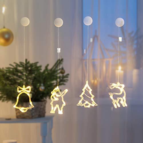SALCAR Cadena de luces LED,40 LED para juego de decoración LED de 4 piezas, muñeco de nieve, reno, campana y...
