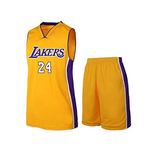 # 24 Kobe Lakers Basketballkleidung Anzug Jersey Anzug Weste T-Shirt Sportswear Fans Trainingskleidung Outfit Männer Teenager Jersey Shorts Anzug S-5XL-yellow-XXXXXL