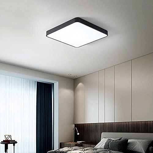 Lámpara de techo cuadrada de metal negro 24W LED regulable con mando a distancia, fácil de moderno, iluminación de techo para dormitorio, baño, estudio, habitación de los niños, galerías, 30x30 cm