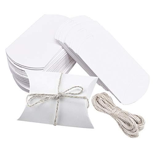 Caja de dulces blancos navideños,100 cajas de almohadas blancas para regalos de boda,cajas de regalo pequeñas de papel Kraft para dulces con 1 paquete de cordel blanco,caja de dulces de 6.5x9 cm