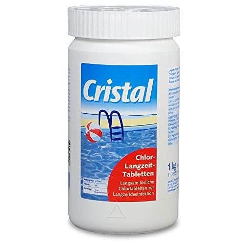 Cristal 1 kg Chlortabletten 200 g langsam löslich, hoher Aktivchlorgehalt, Langzeitdesinfektion für eine effektive Poolpflege