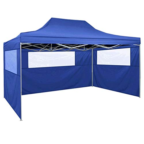 Lechnical Professional party tent Foldable with 3 side walls Gazebo Garden pavilion Waterproof UV protection pavilion for garden patio celebration 3×4m steel blue
