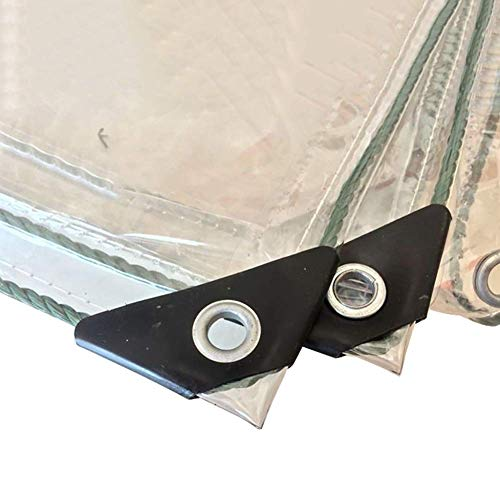 QFQ Outdoor Multipurpose Tarpaulin-Tarpaulin Thicken 0.5Mm Clear Tarp with Grommets, Transparent Waterproof Windproof for Outdoor Camping Rv Truck,1X3M
