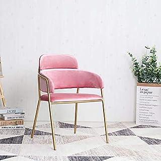 De metal de hierro forjado sillas de comedor, estilo moderno sillas de comedor silla de terciopelo de ocio con piernas robustas metálicos para cocina, comedor, dormitorio, sala de estar,Rosado