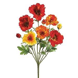 Small Poppy Silk Flower Bush in Orange Flame – 18″ Tall x 3″ Blooms – Set of 2