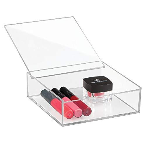 iDesign Kosmetik Organizer mit Deckel (15,2 x 15,2 x 5,1 cm), mittelgroßer Schminkorganiser aus BPA-freiem Kunststoff, stapelbare Acrylbox für Schminke, durchsichtig
