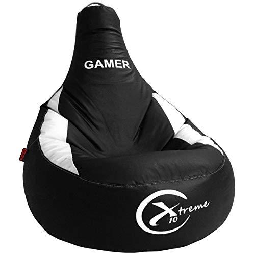 loconfort Nuevo!! Puff Gamer X10 Extreme - Puff XL - Polipiel - Especial Juegos Playstation, Xbox, Wii etc. (XL, Blanco)