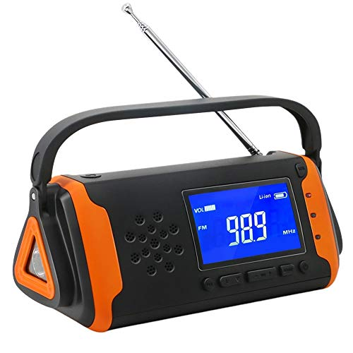 Radio de manivela portátil, Radio de Emergencia Solar de Emergencia con Linterna LED, Cargador USB 2000mAh Power Bank, Alarma SOS para el hogar, Exterior