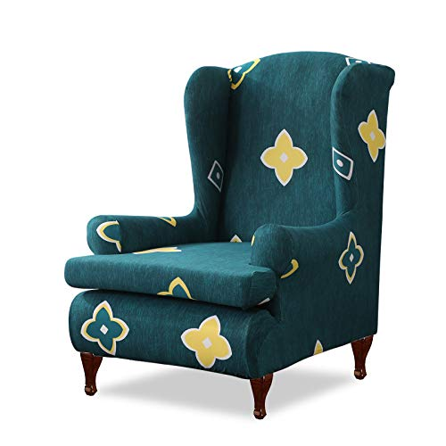 VanderHOME Ohrensessel husse ohrensessel bezug Stretch sesselhussen Sessel bezug husse für ohrensessel gelbe Blume