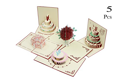 Birthday Card,Birthday Gifts for Women 3D Pop Up Happy Birthday Cake Greeting Cards Mother's Day Card, Springtime Card, Birthday Card - 5 Pack Cards & Envelopes (5 Pack Pop Up Card)